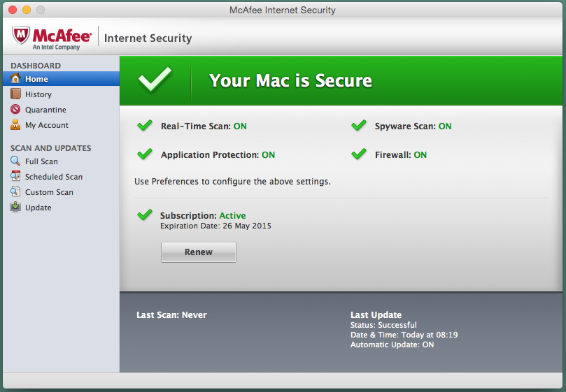 mcafee internet security download with product key