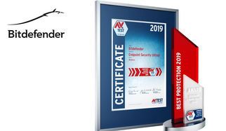 "With the AV-TEST Award, the leading test institute for IT security selects each year the best products in their class. To be honored with one of the internationally renowned awards, however, IT security products have to score the highest ratings in comprehensive tests throughout the test period of one full year. Bitdefender managed to do precisely that with its ""Endpoint Security (Ultra)"" product. The AV-TEST Award 2019 in the test category of protection for corporate user products goes to Bitdefender."