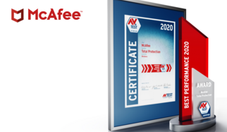 "This is the tenth time that the AV-TEST Institute is presenting its internationally renowned award for the best IT security products. The 2020 award in the test category of performance goes to the product ""Total Protection"" from manufacturer McAfee. The security program stood out thanks to continuously outstanding achievements, demonstrated in comprehensive tests throughout the period of the entire test year."