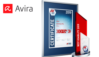 "With the AV-TEST Award, the leading test institute for IT security selects each year the best products in their class. To be honored with one of the internationally renowned awards, however, IT security products have to score the highest ratings in comprehensive tests throughout the test period of one full year. That is precisely what Avira has achieved with its ""Antivirus Pro"" product. The AV-TEST Award 2019 in the test category of usability for consumer products goes to Avira."