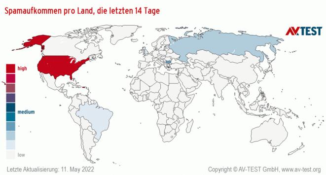 Spamaufkommen pro Land, die letzten 14 Tage
