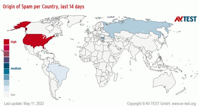 Origin of Spam per Country, last 14 days