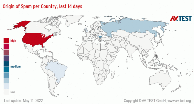 Origin of Spam per Country, last 14 days