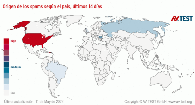 Origen de los spams según el país, últimos 14 días