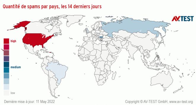 Quantité de spams par pays, les14derniers jours