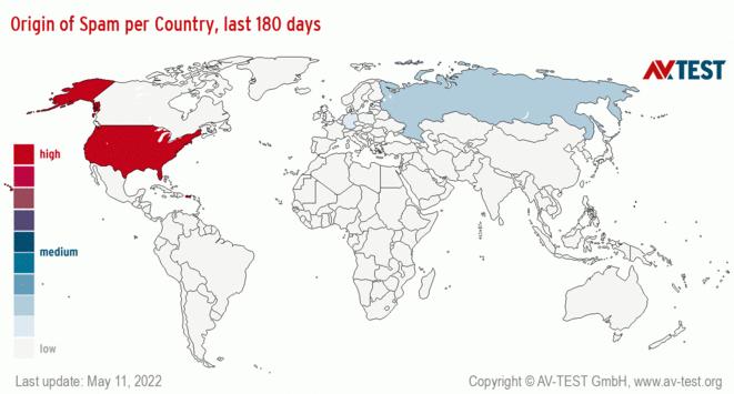Origin of Spam per Country, last 180 days