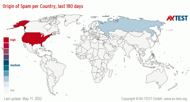 Origin of Spam per Country, last 180 days