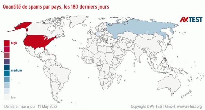 Quantité de spams par pays, les180derniers jours