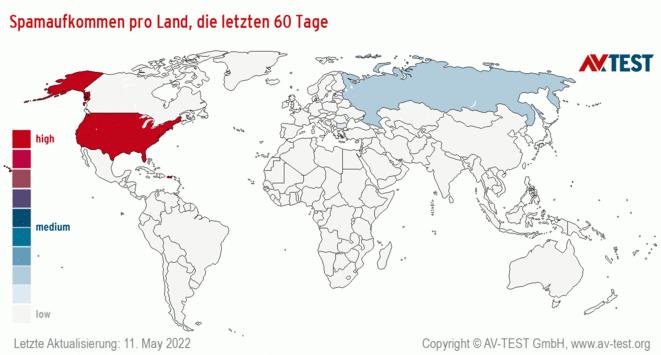 Spamaufkommen pro Land, die letzten 60 Tage