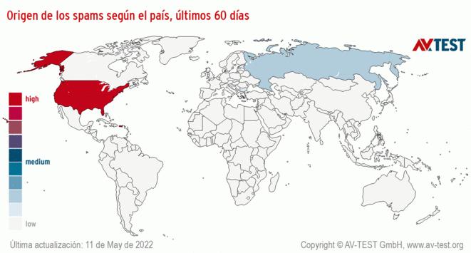 Origen de los spams según el país, últimos 60 días