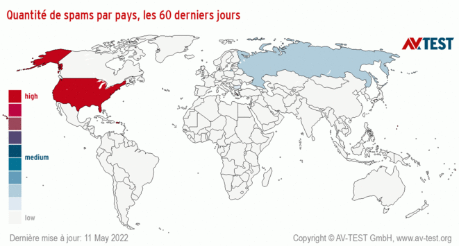 Quantité de spams par pays, les60derniers jours